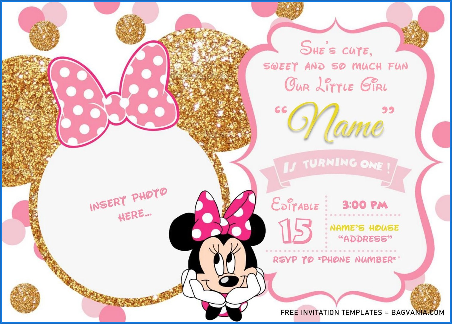 Minnie Mouse Birthday Invitations Pink And Gold