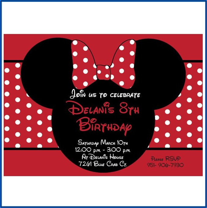 Minnie Mouse Birthday Invitations Red And Black