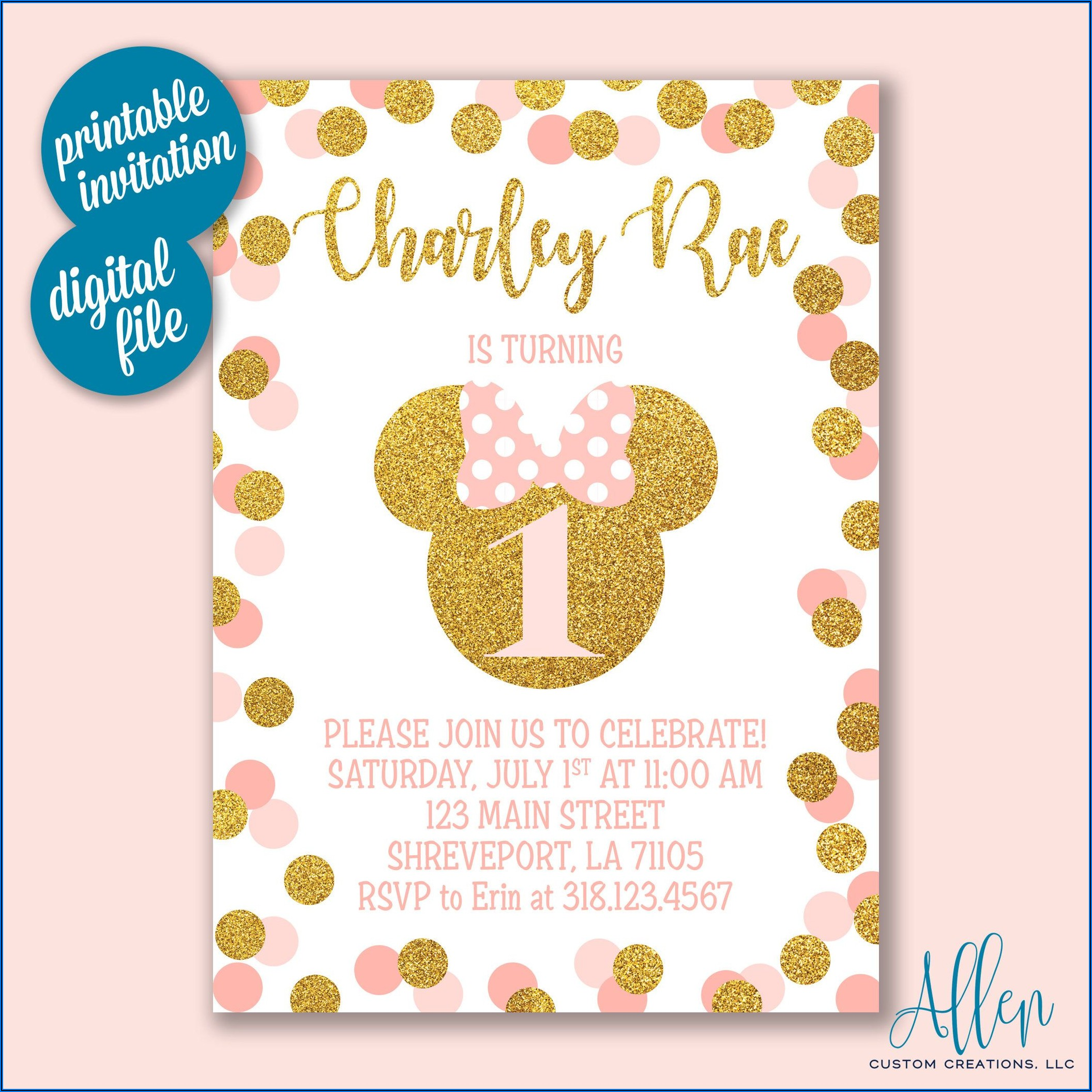 Minnie Mouse Birthday Invitations Walmart
