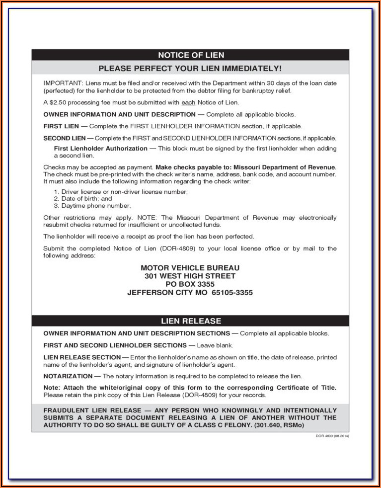 Missouri Construction Lien Waiver Form
