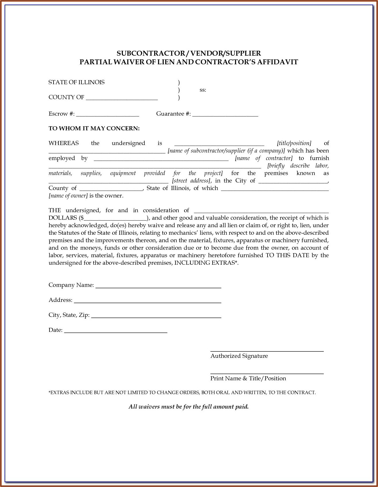 Missouri Mechanics Lien Waiver Form