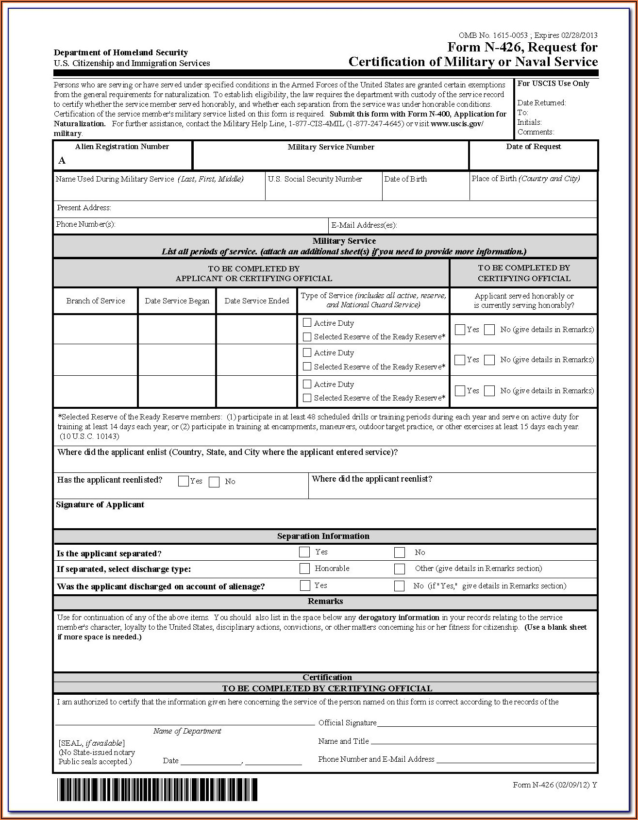 N 400 Form Sample 2020