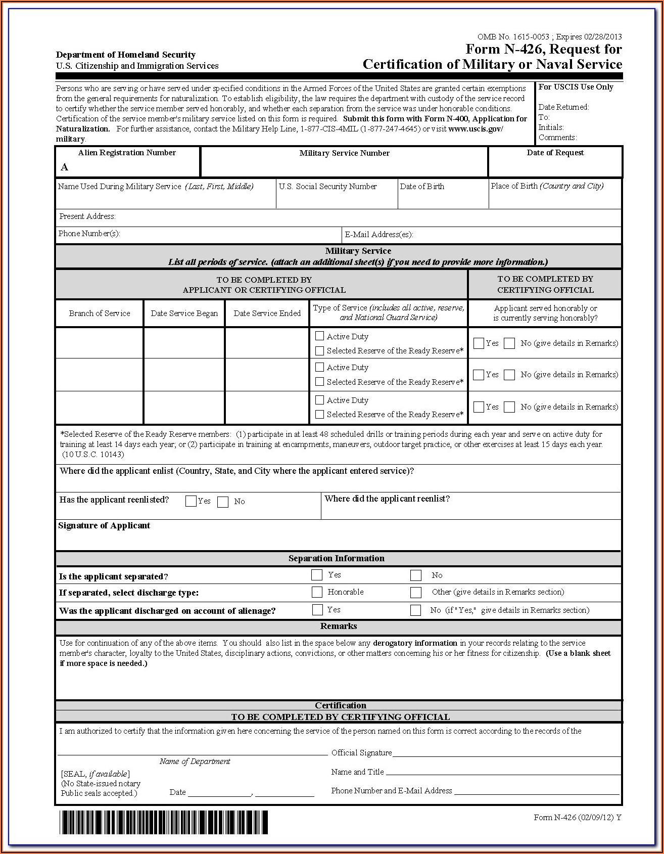 N 400 Form Sample 2020