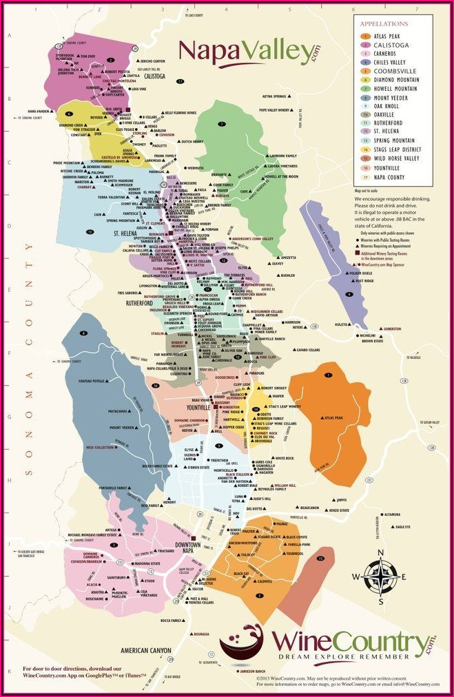 Napa Sonoma Valley Winery Map