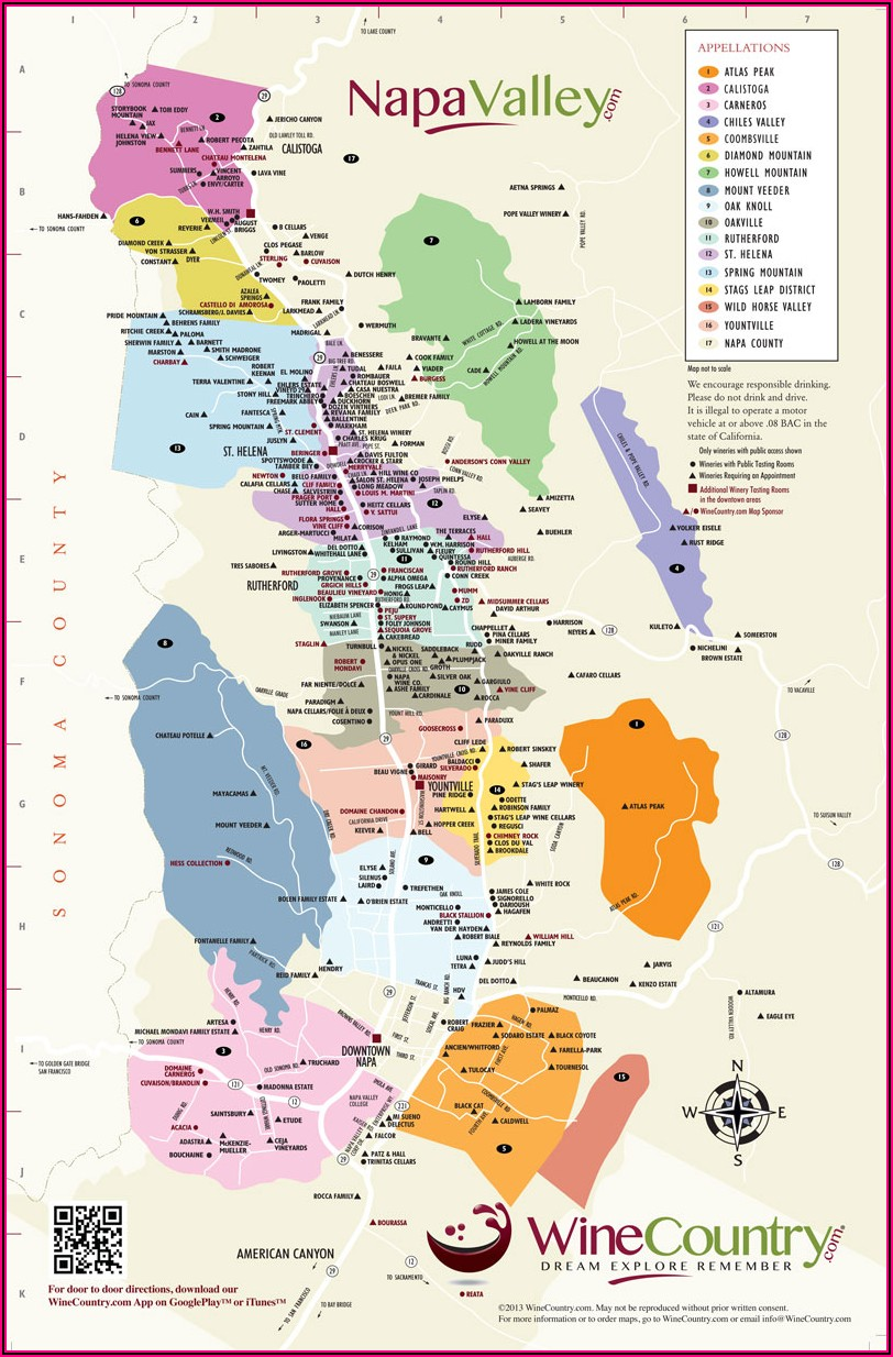 Napa Valley Winery Map And Trip Planner