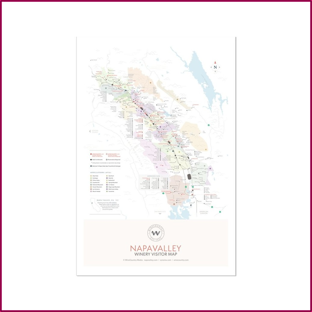 Napa Valley Winery Map Poster