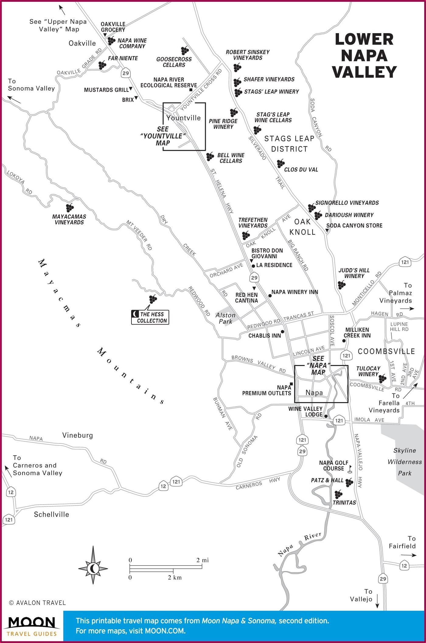 Napa Valley Winery Map Printable