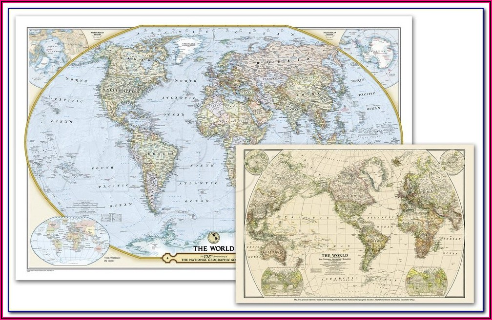 National Geographic Map Of The World Poster