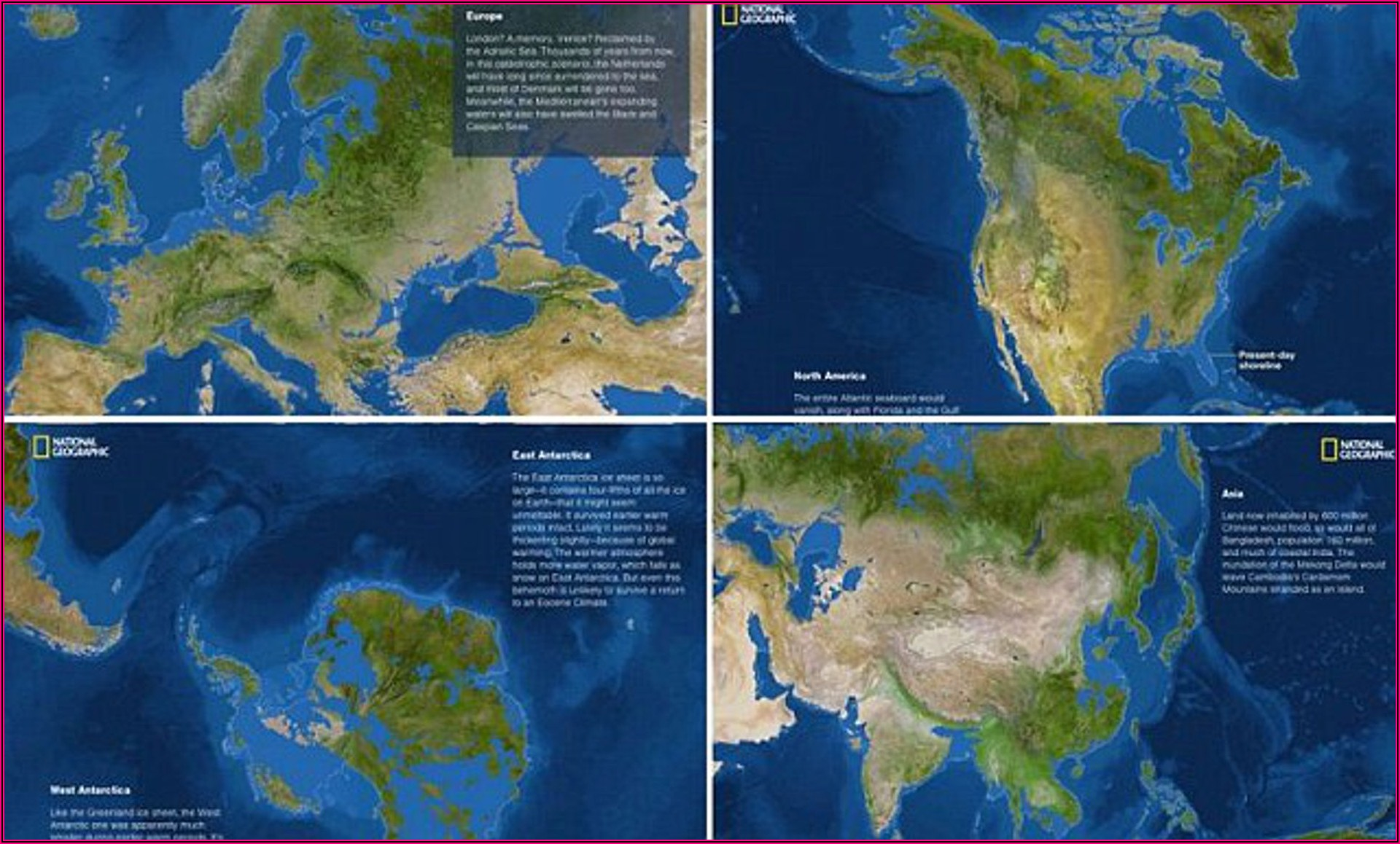 National Geographic Map Of World If All Ice Melted