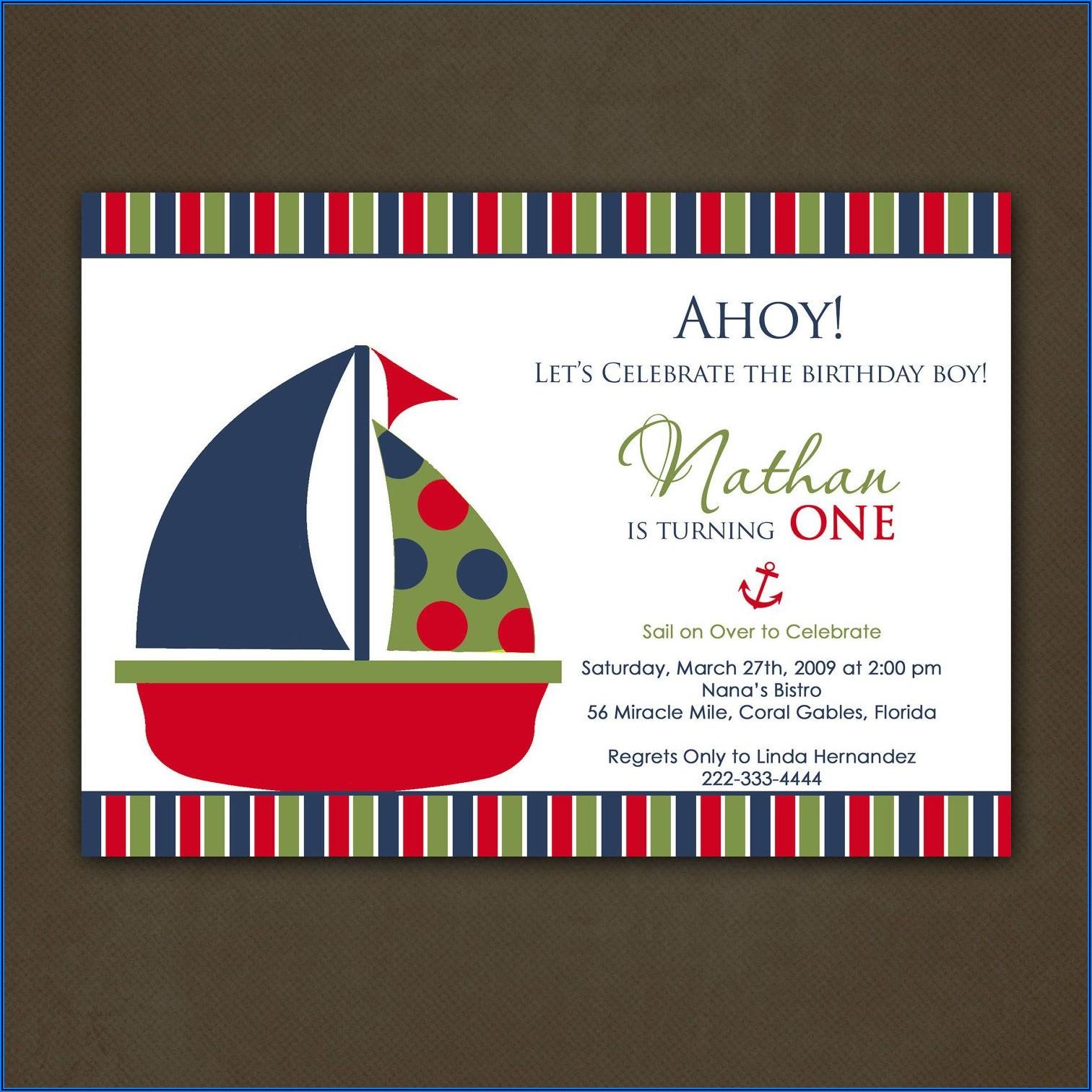 Nautical Boy First Birthday Invitations