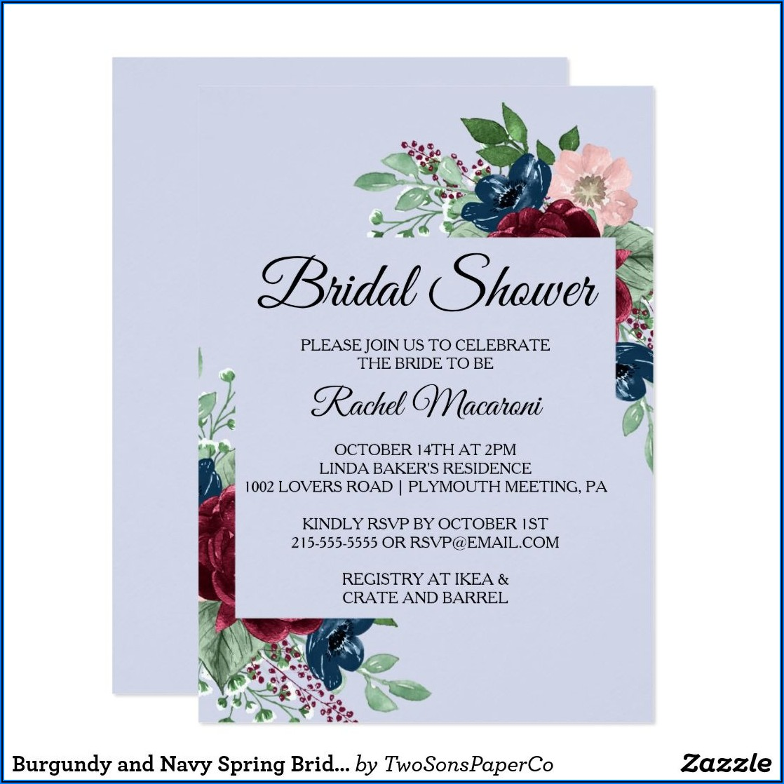 Navy And Burgundy Wedding Shower Invitations