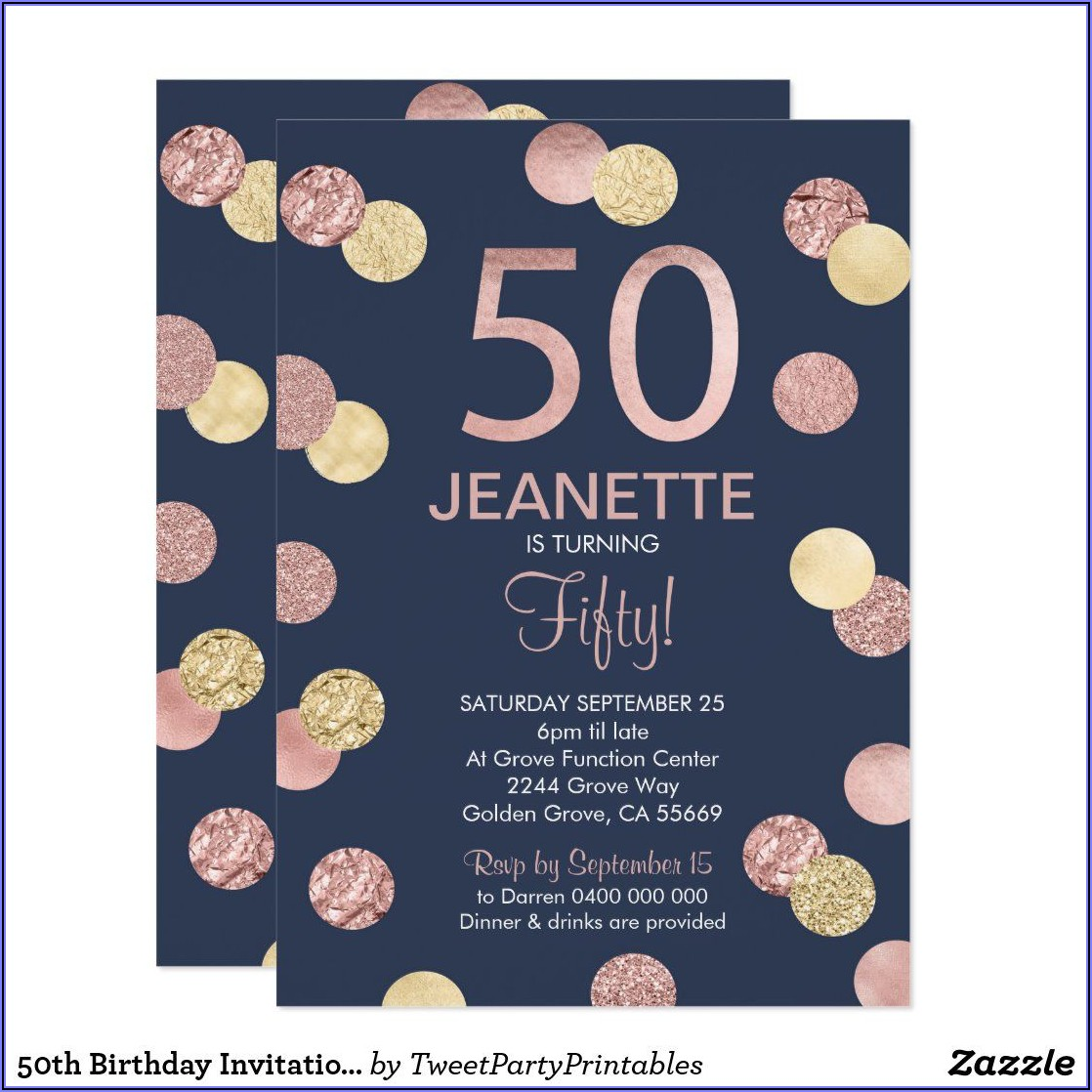 Navy And Rose Gold Birthday Invitations