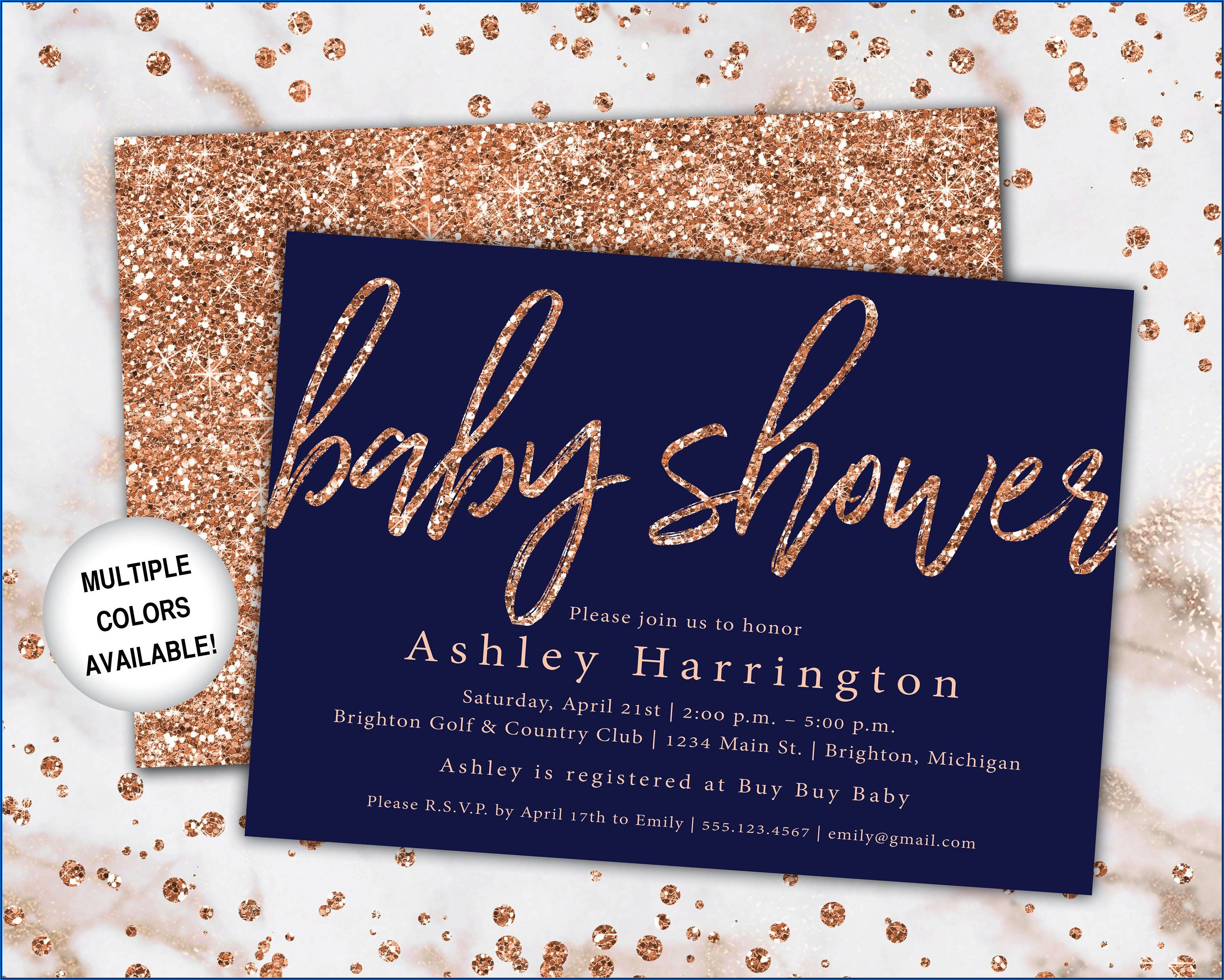 Navy And Rose Gold Bridal Shower Invitations