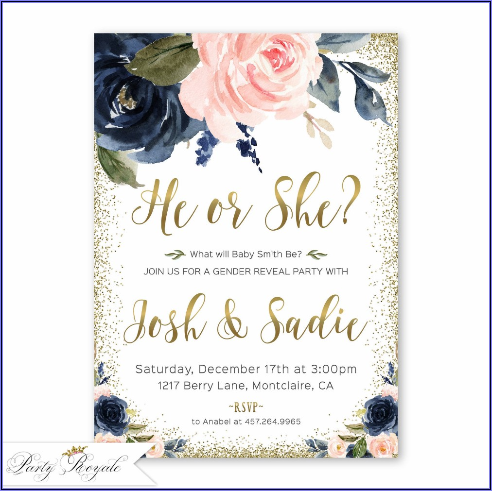 Navy And Rose Gold Gender Reveal Invitations