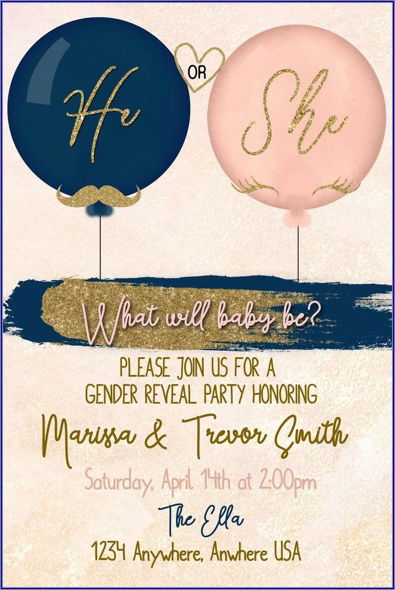 Navy Blue And Rose Gold Gender Reveal Invitations