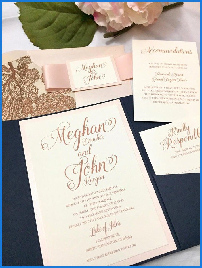 Navy Blue And Rose Gold Wedding Invitations