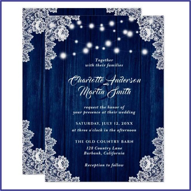 Navy Blue Lace Wedding Invitations
