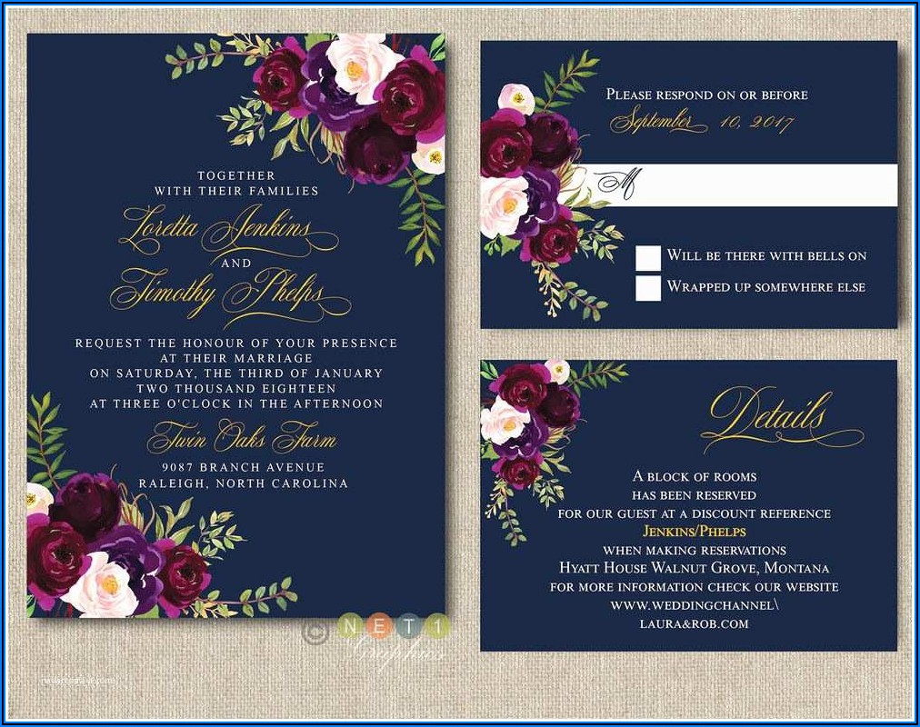 Navy Burgundy And Blush Wedding Invitations