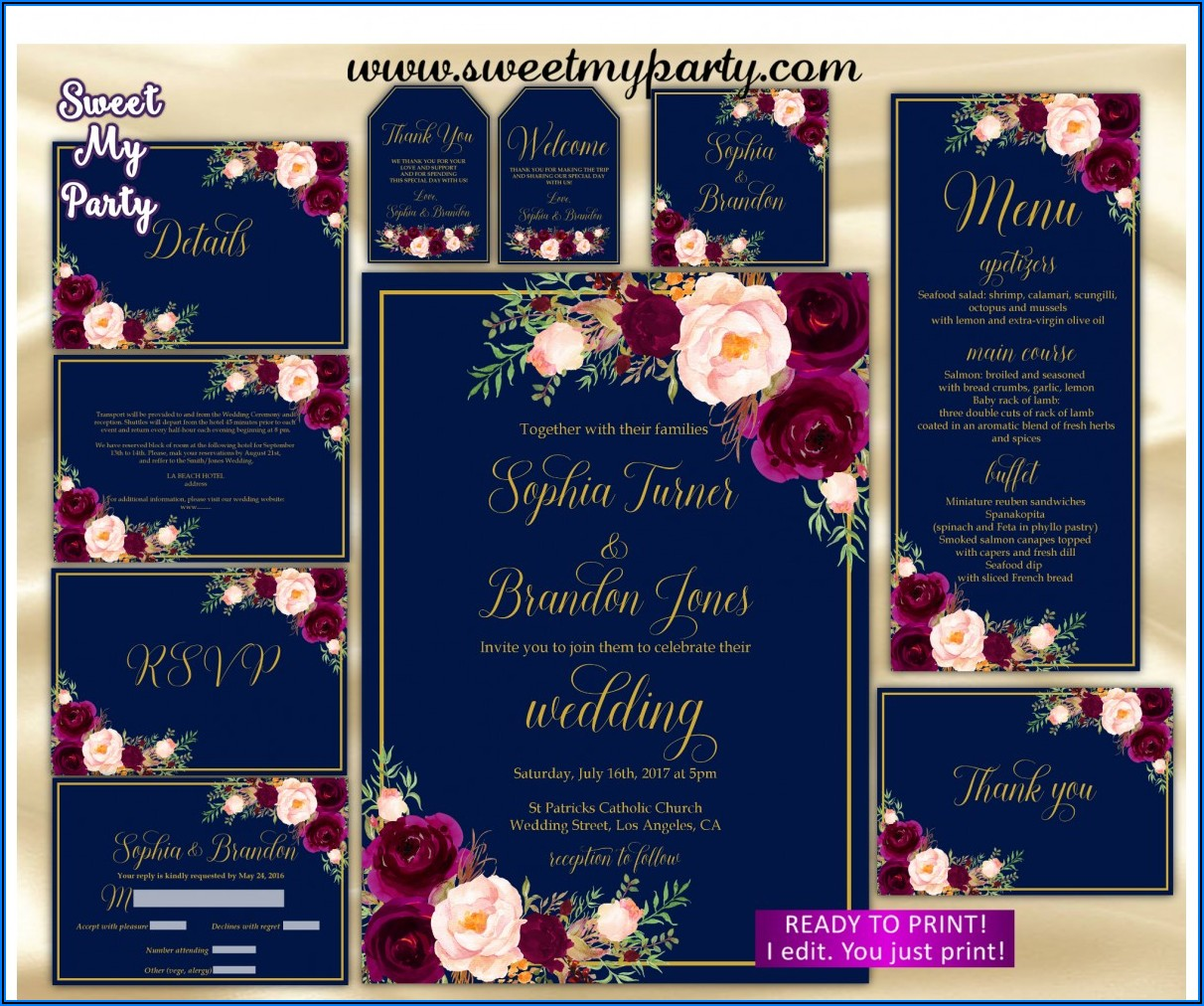 Navy Burgundy Wedding Invitation Set