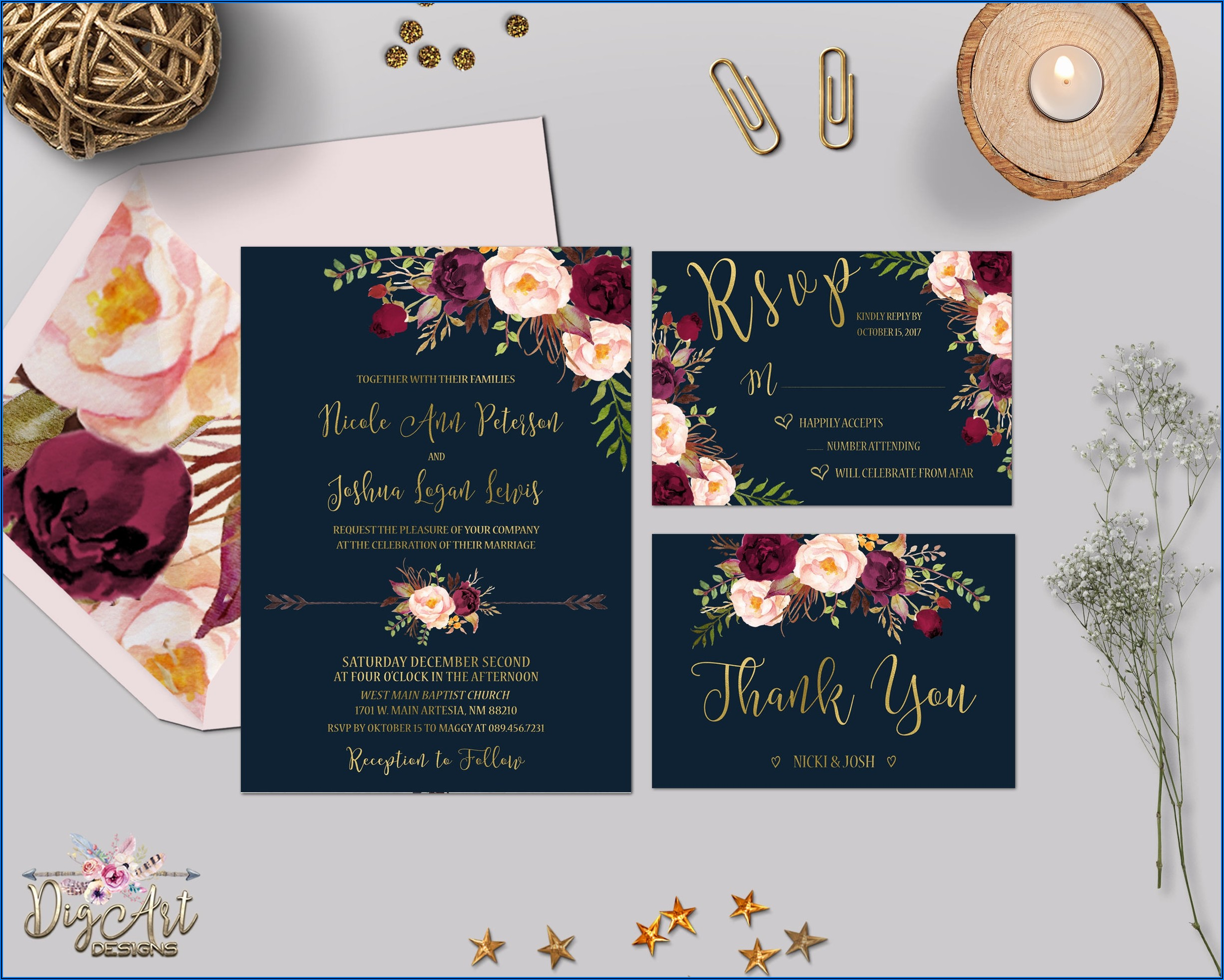 Navy Gold And Burgundy Wedding Invitations