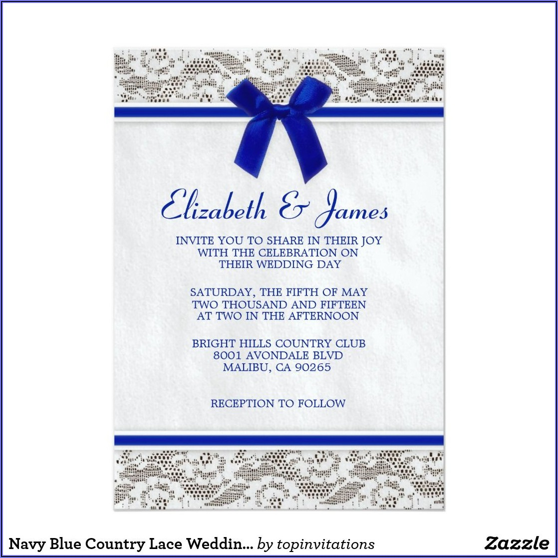 Navy Lace Wedding Invitations