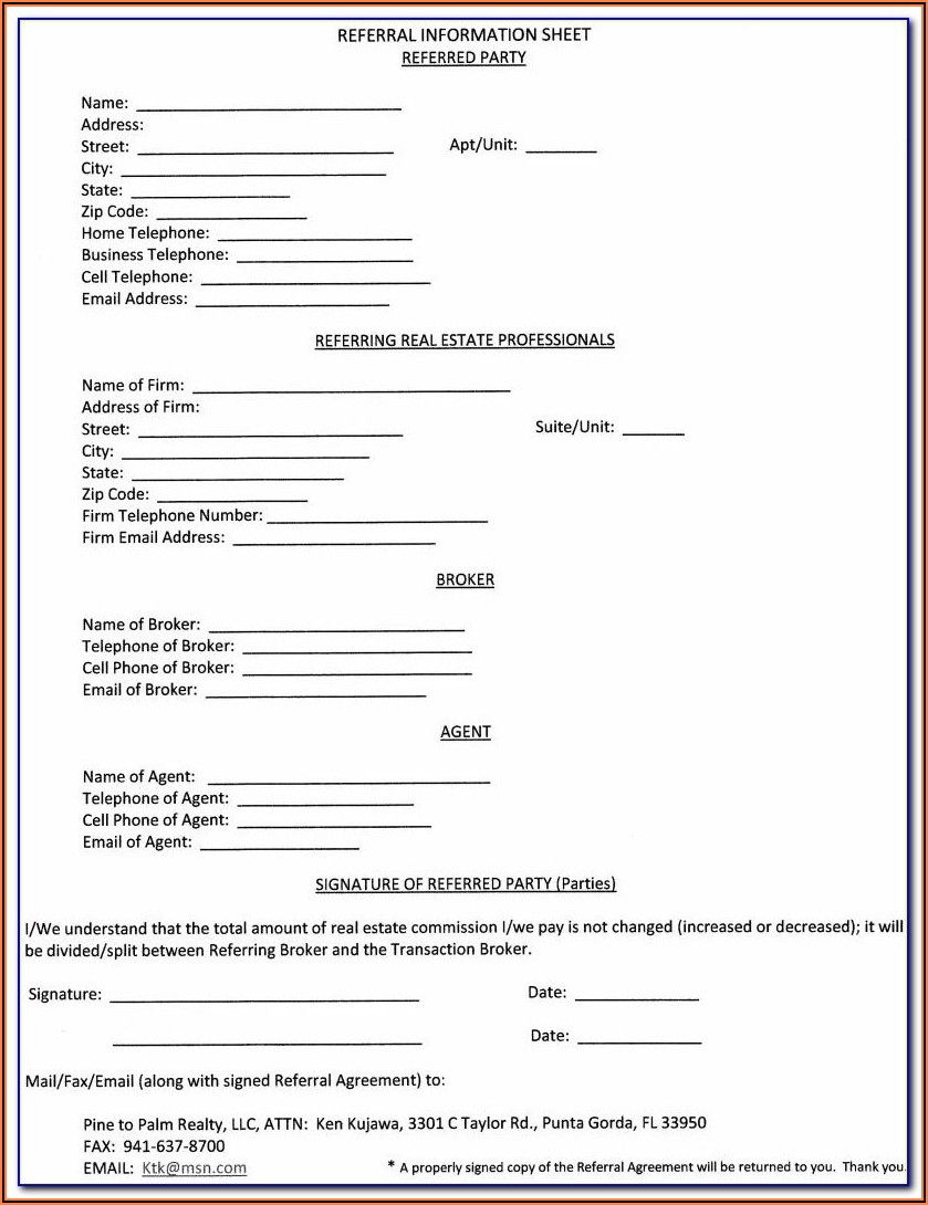 Nc Realtor Referral Form