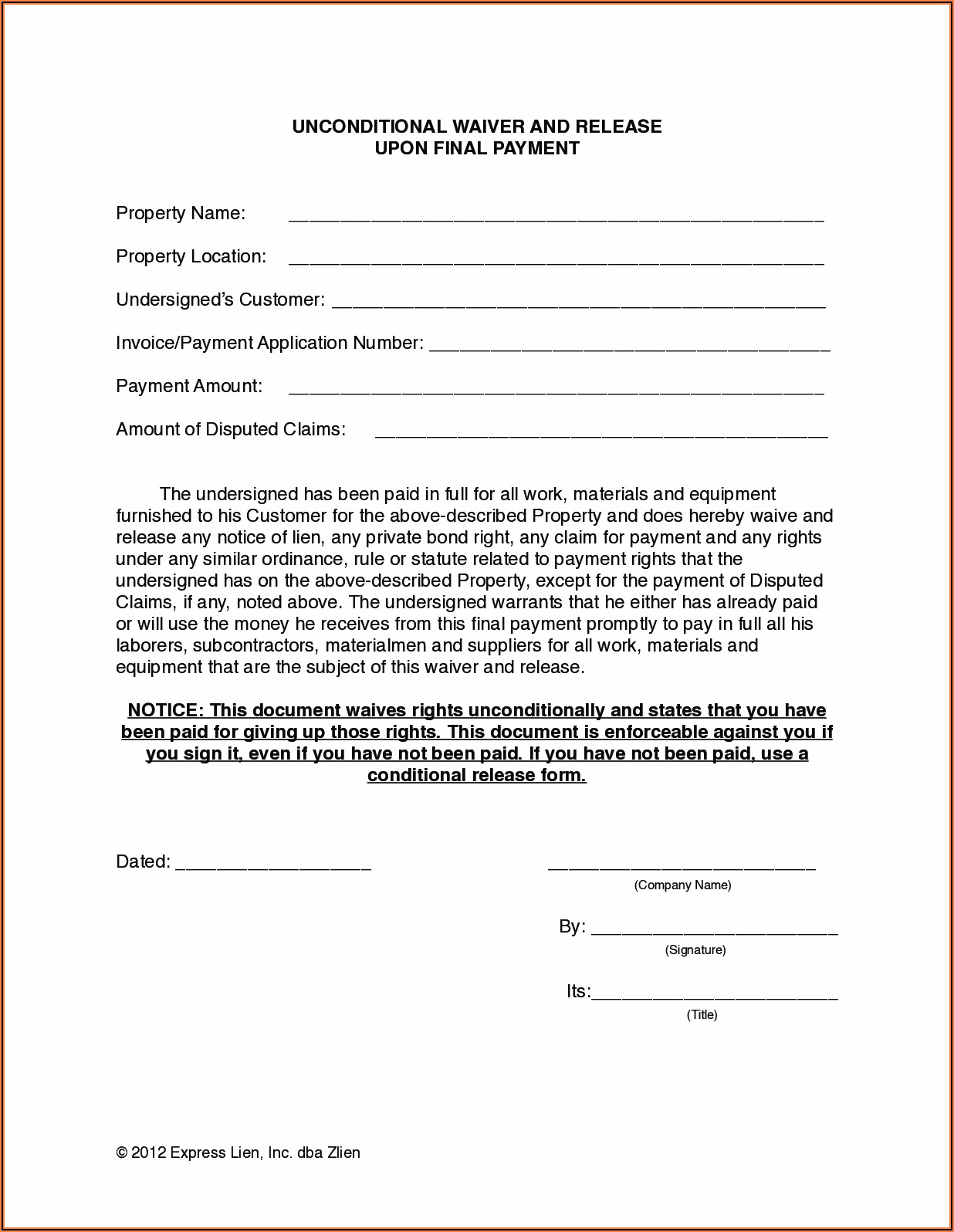Nevada Construction Lien Release Form