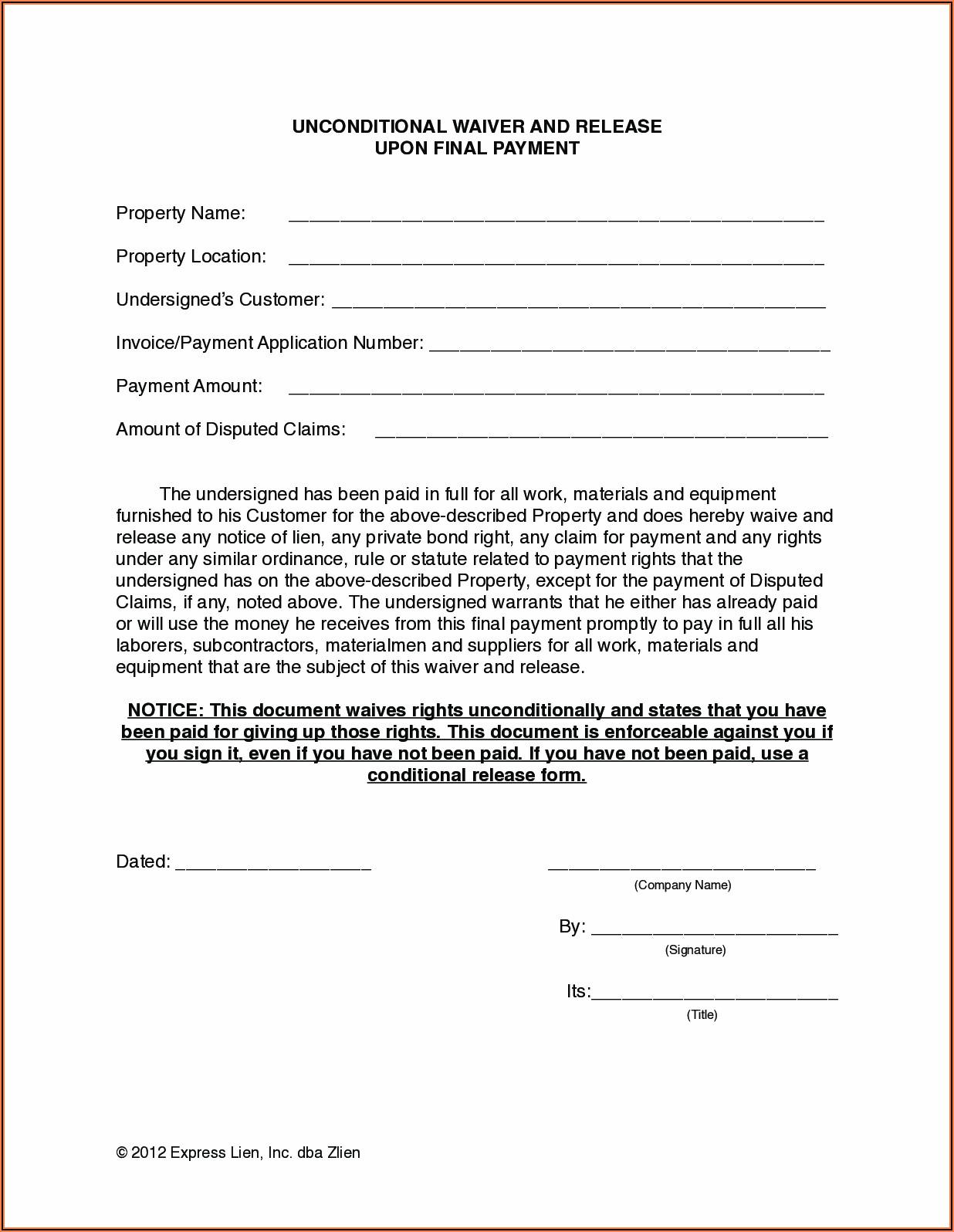 Nevada Construction Lien Release Form