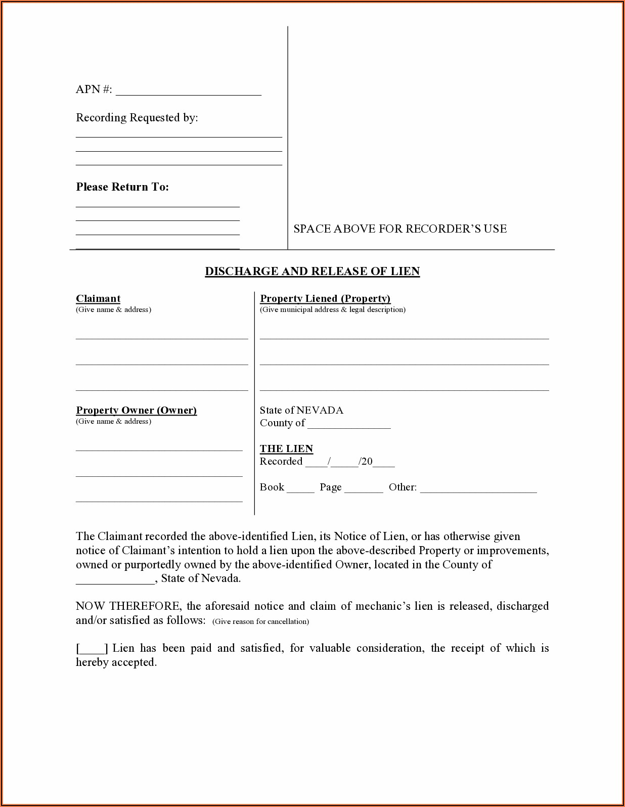 Nevada Mechanics Lien Release Form