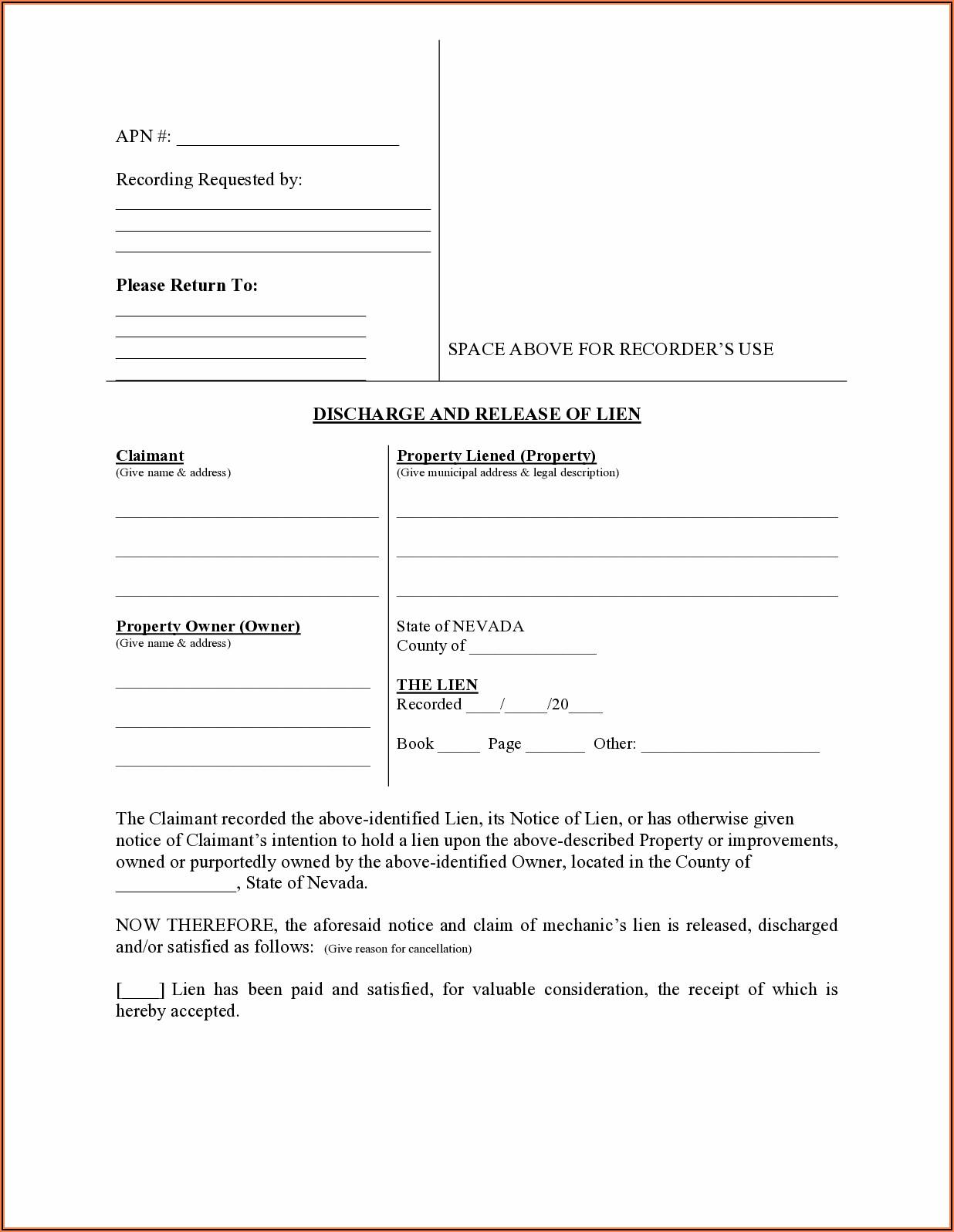 Nevada Mechanics Lien Release Form