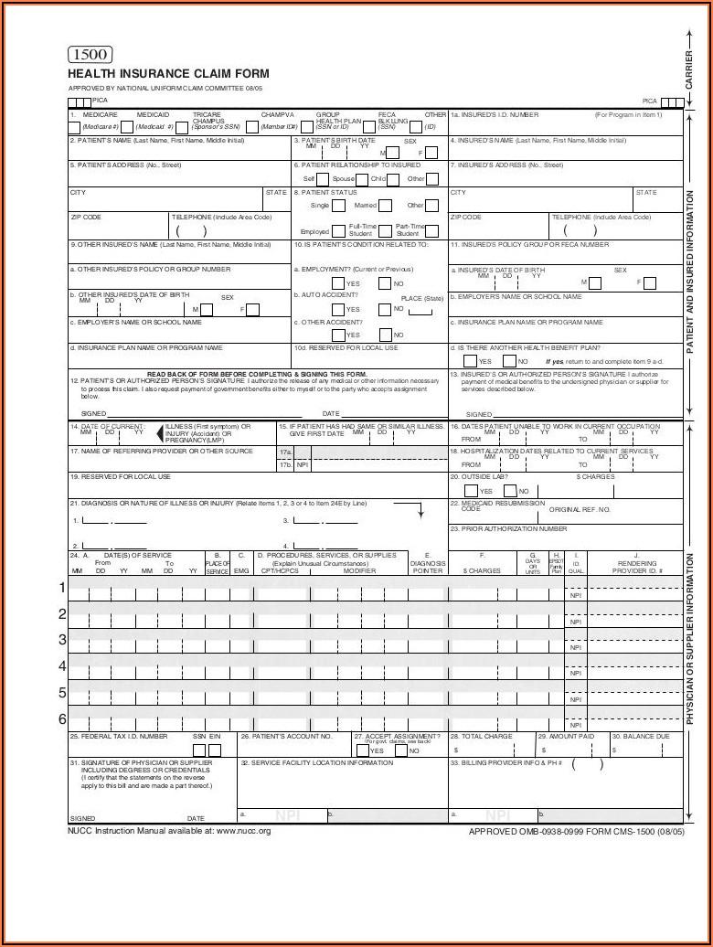 New Hcfa 1500 Claim Form Pdf