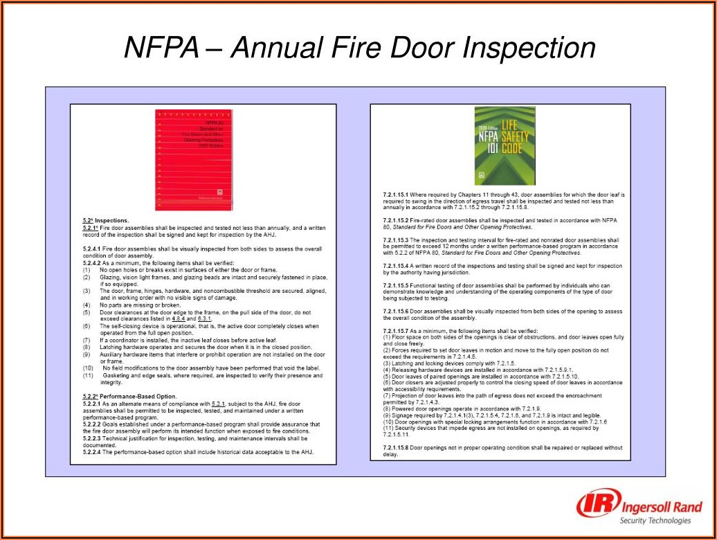 Nfpa 80 Annual Fire Door Inspection Form