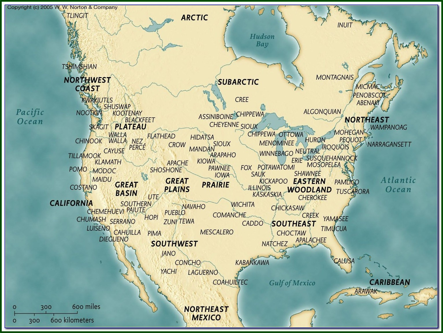 North American Native Indian Tribes Map