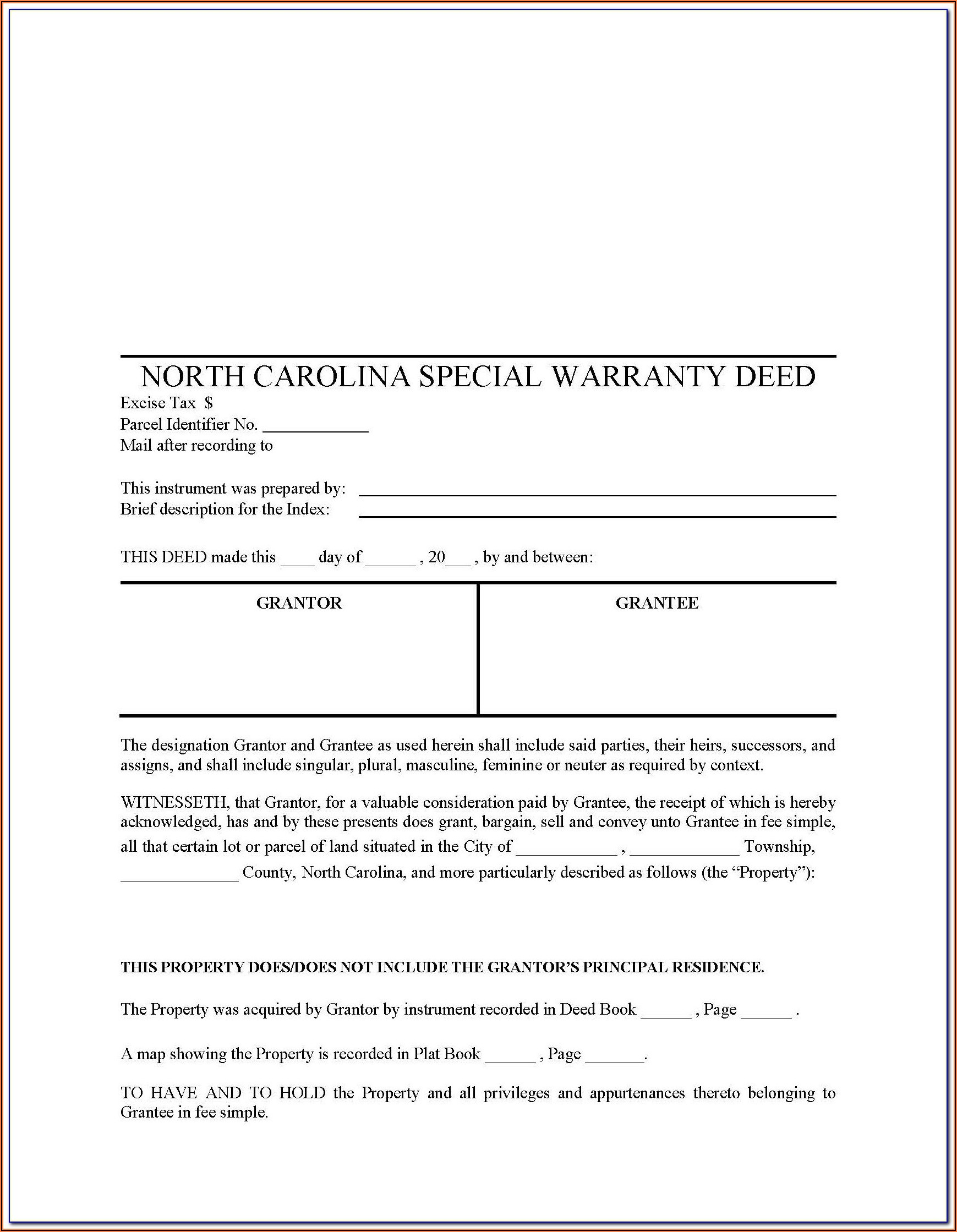 North Carolina Bar Association Special Warranty Deed Form