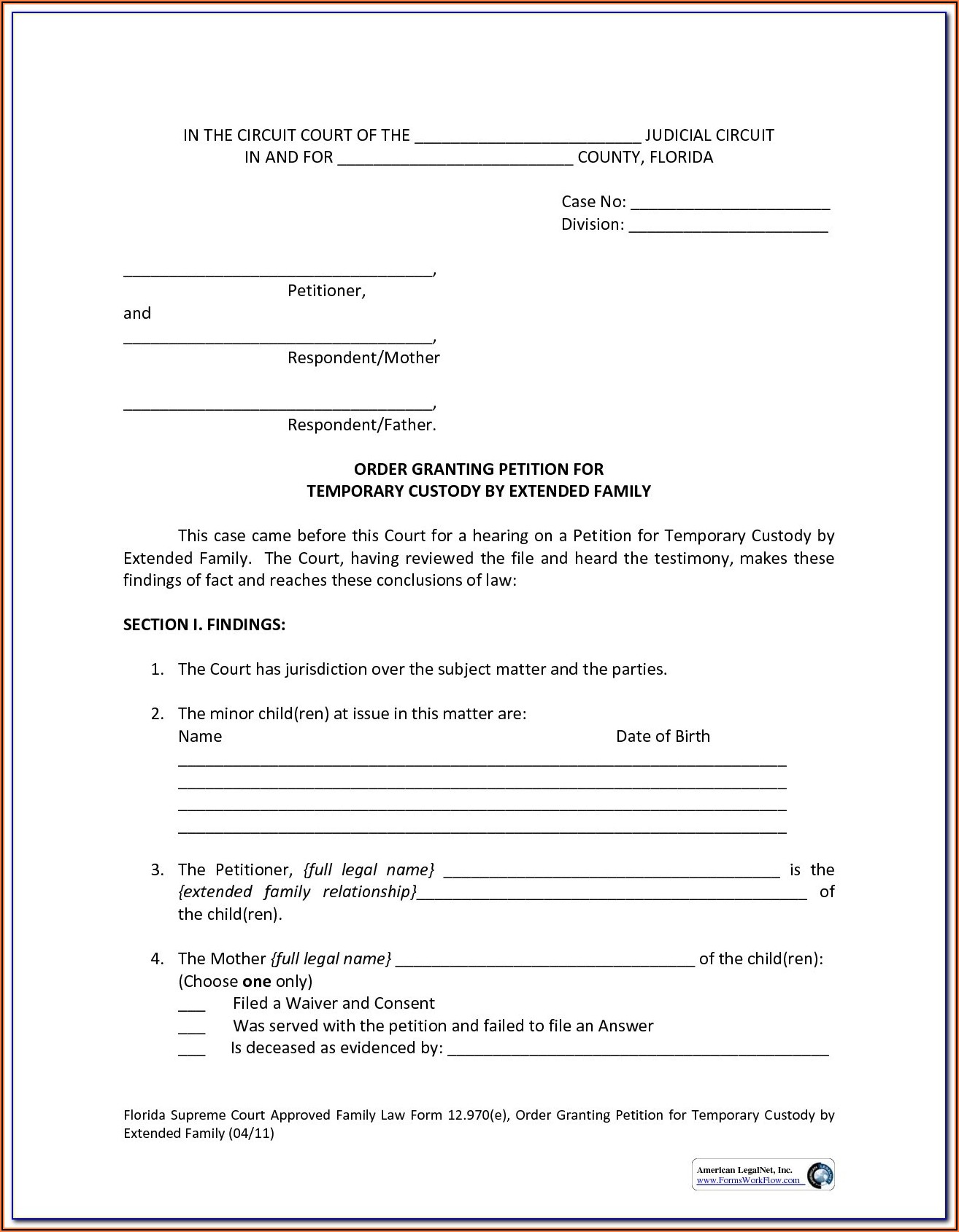 North Carolina Temporary Custody Form