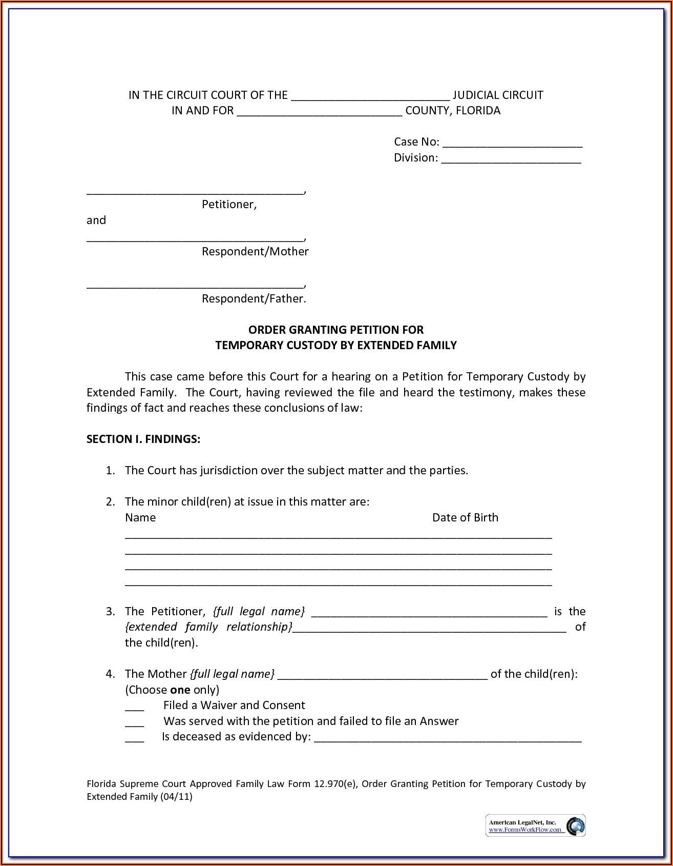 North Carolina Temporary Custody Form