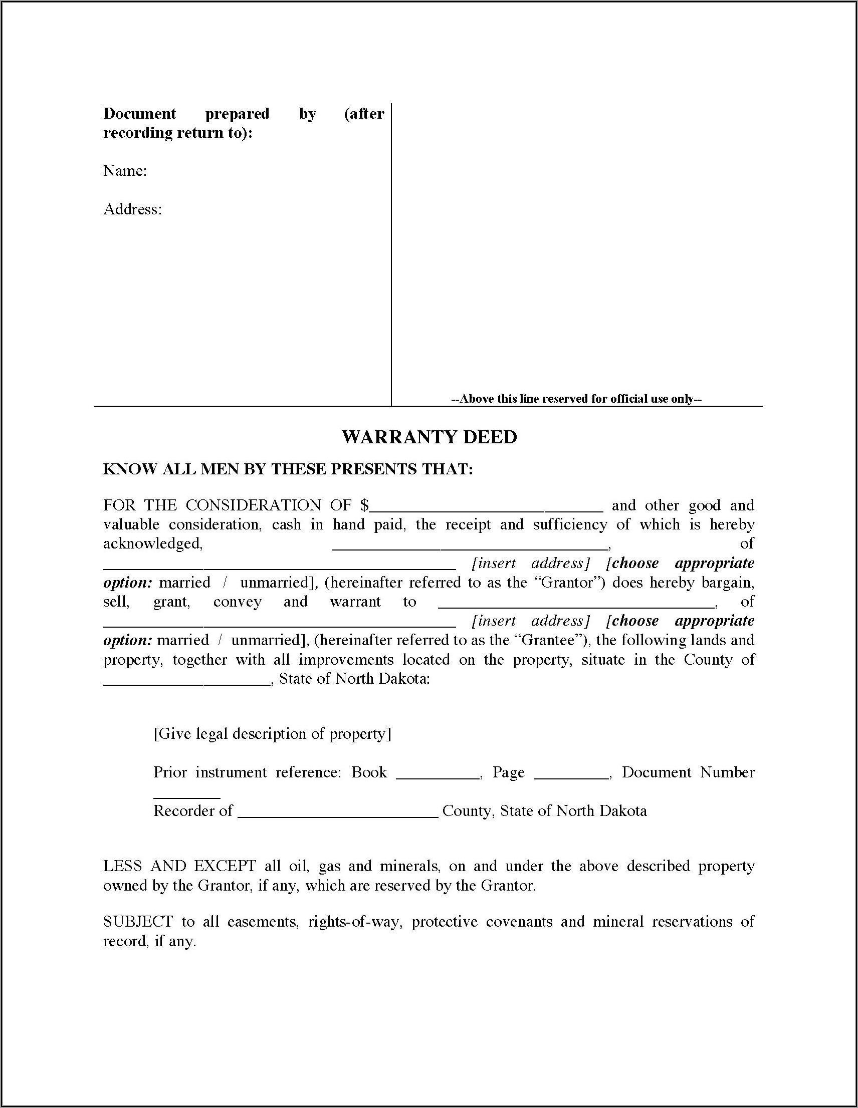 North Dakota Warranty Deed Forms Free