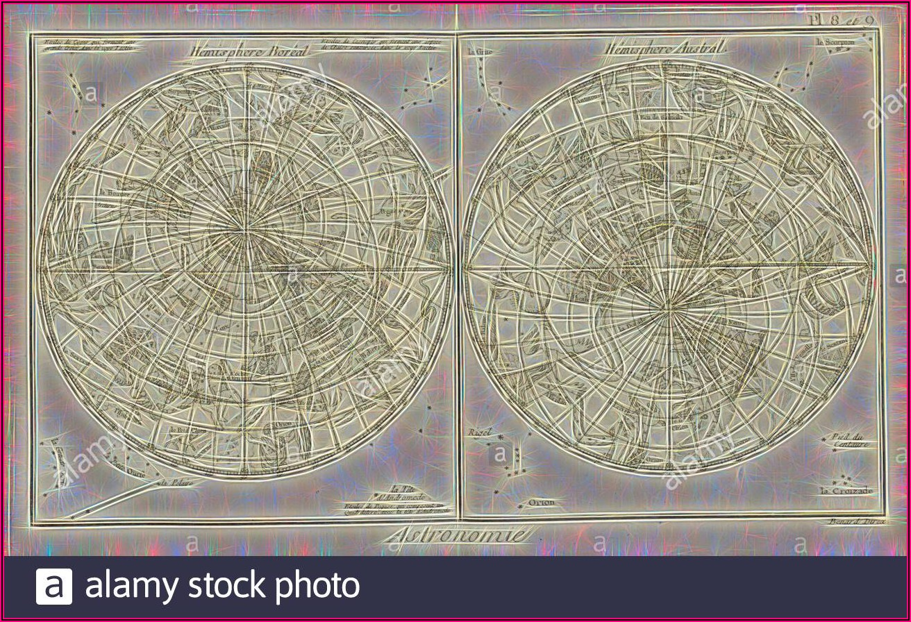 Northern And Southern Hemisphere Star Map