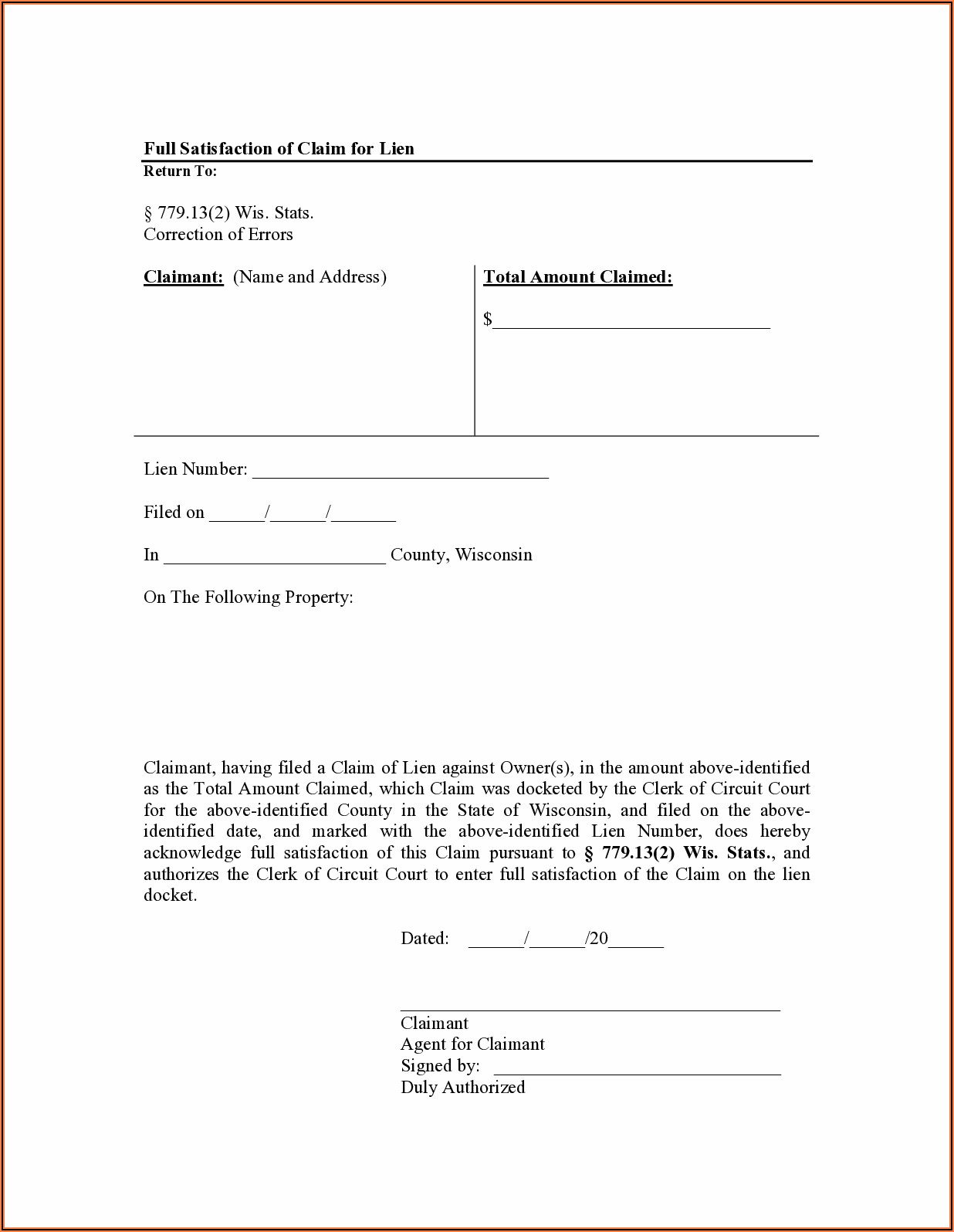 Notice Of Intent To File Lien Form Wisconsin