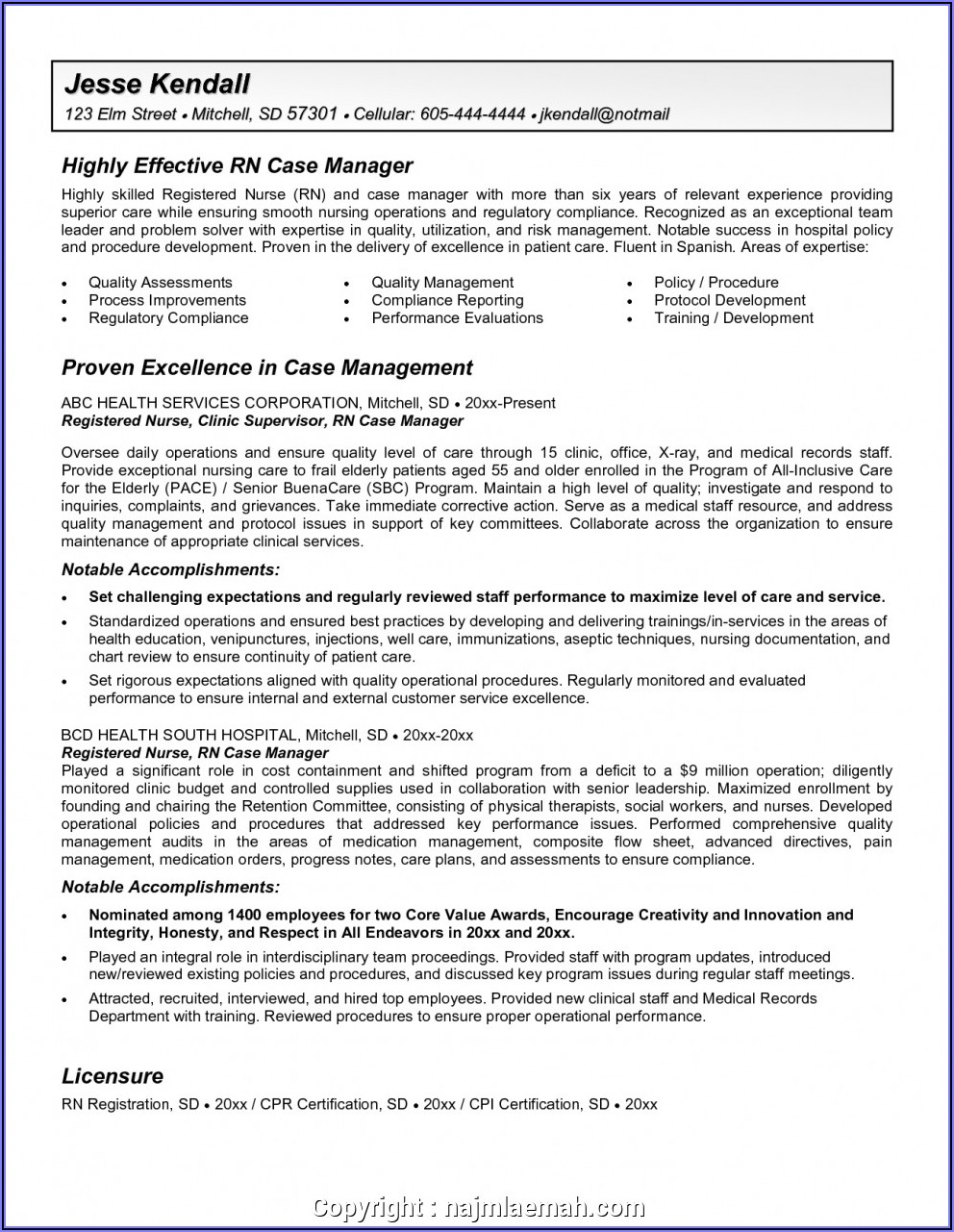 Nurse Manager Resume Templates