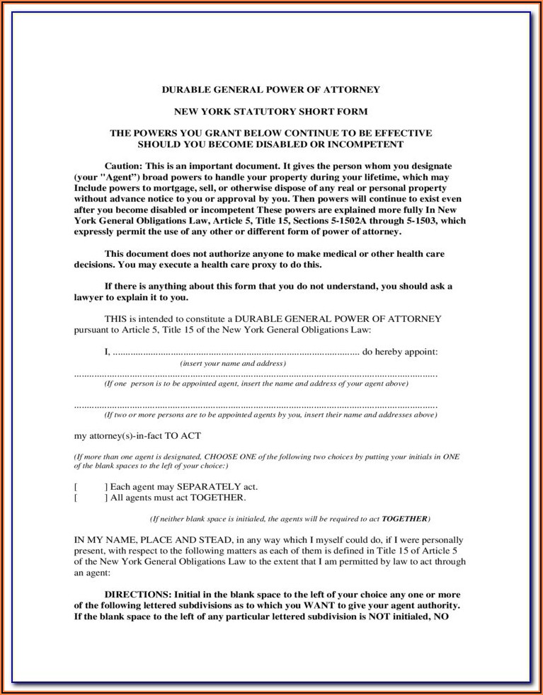 Nys Power Of Attorney Form 2020