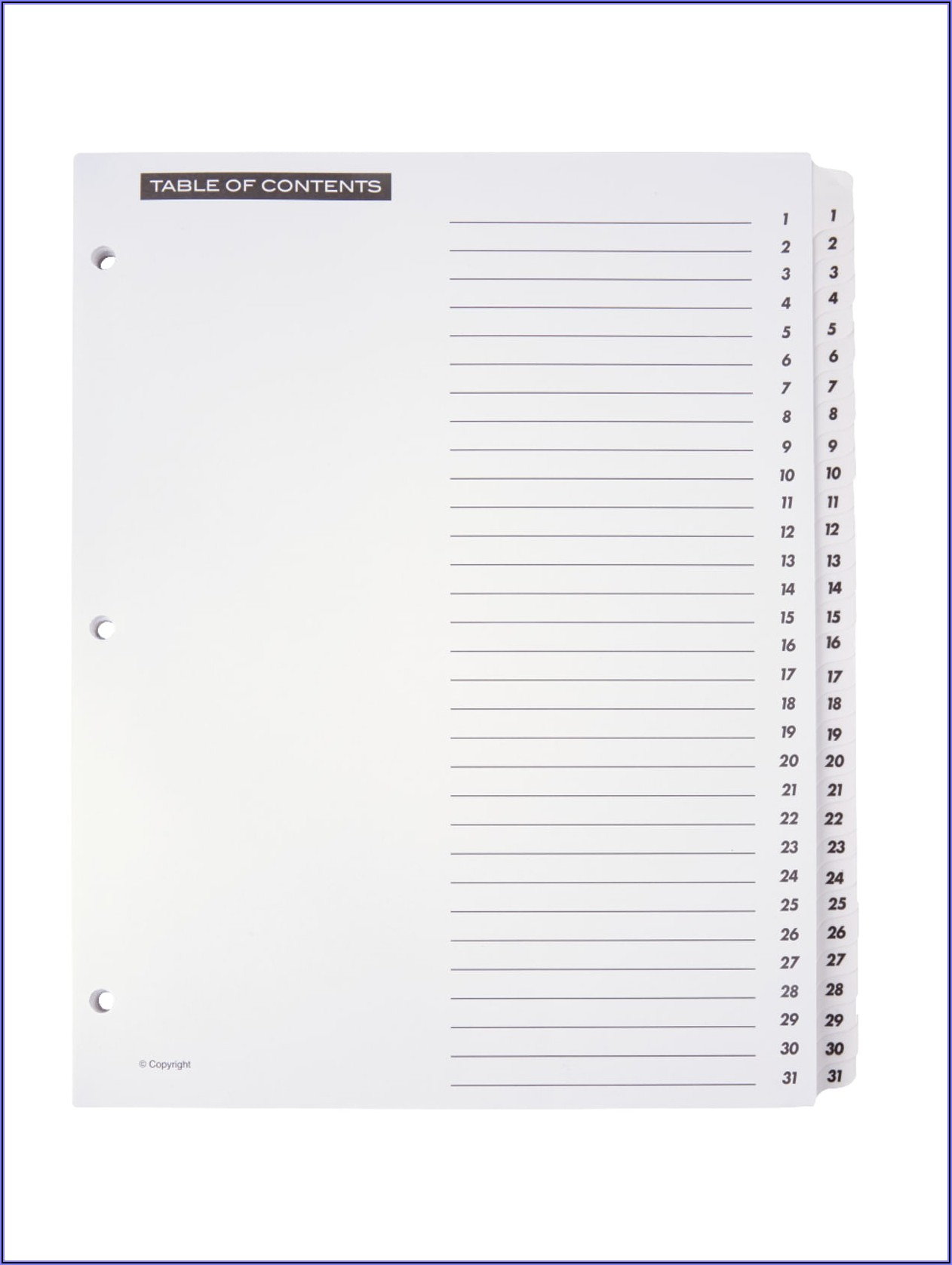 Office Depot Paper Templates Index Divider