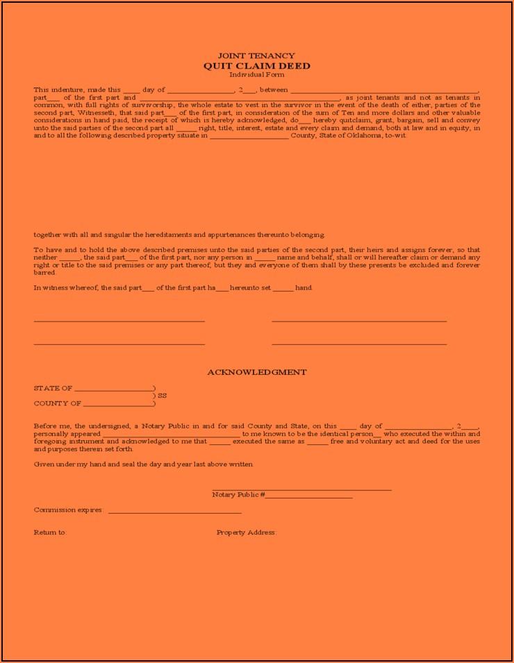 Oklahoma Quit Claim Deed Form Example