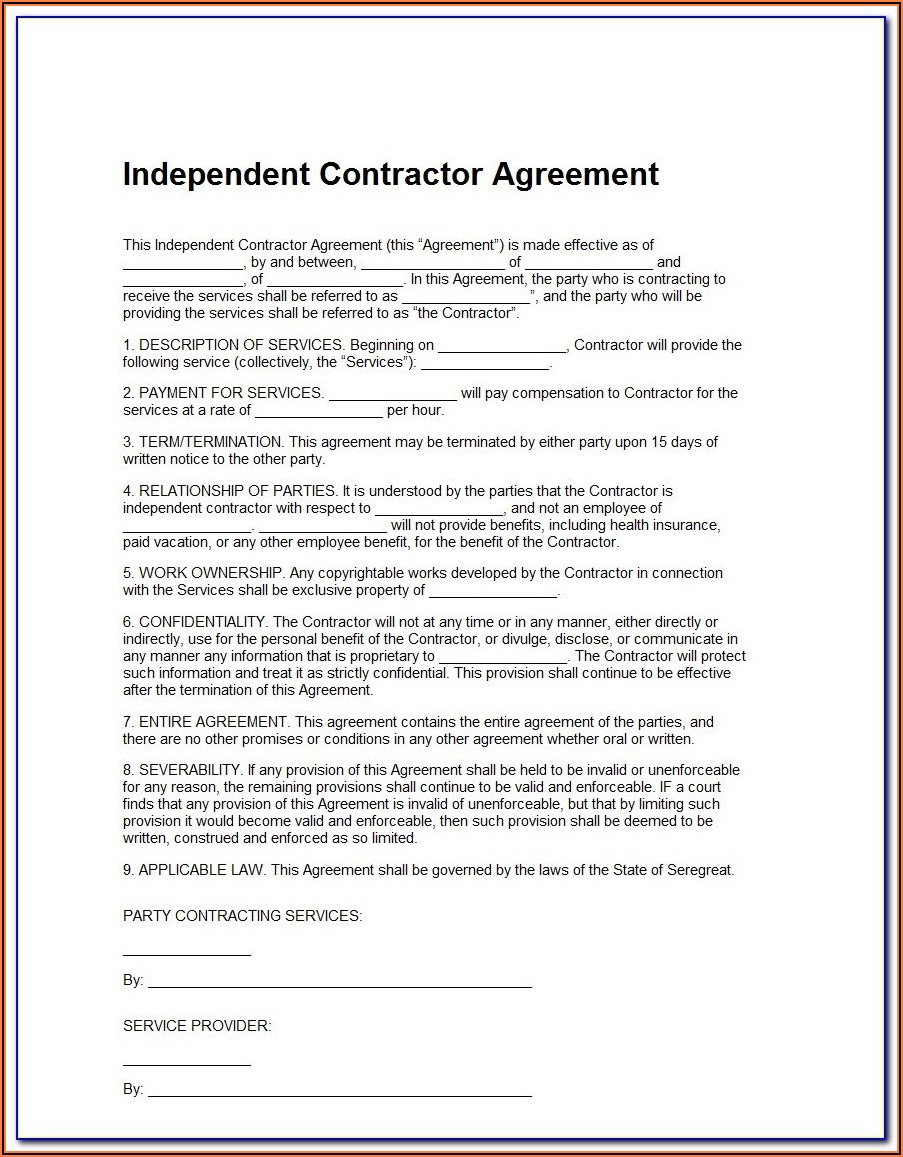 Opers Independent Contractor Acknowledgement Form