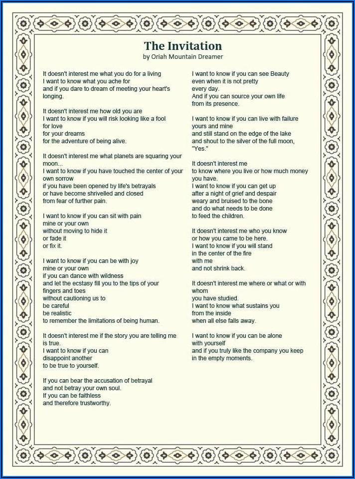 Oriah Mountain Dreamer The Invitation Poem Pdf