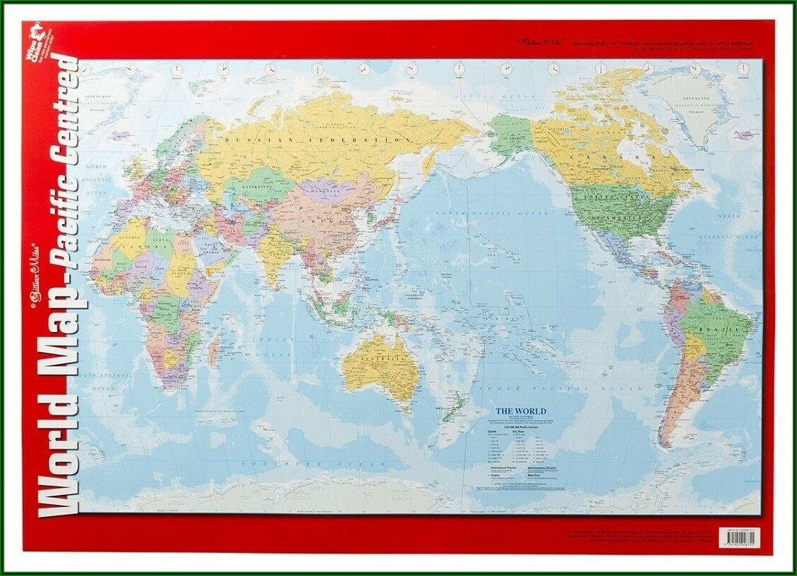 Pacific Centred World Map Poster