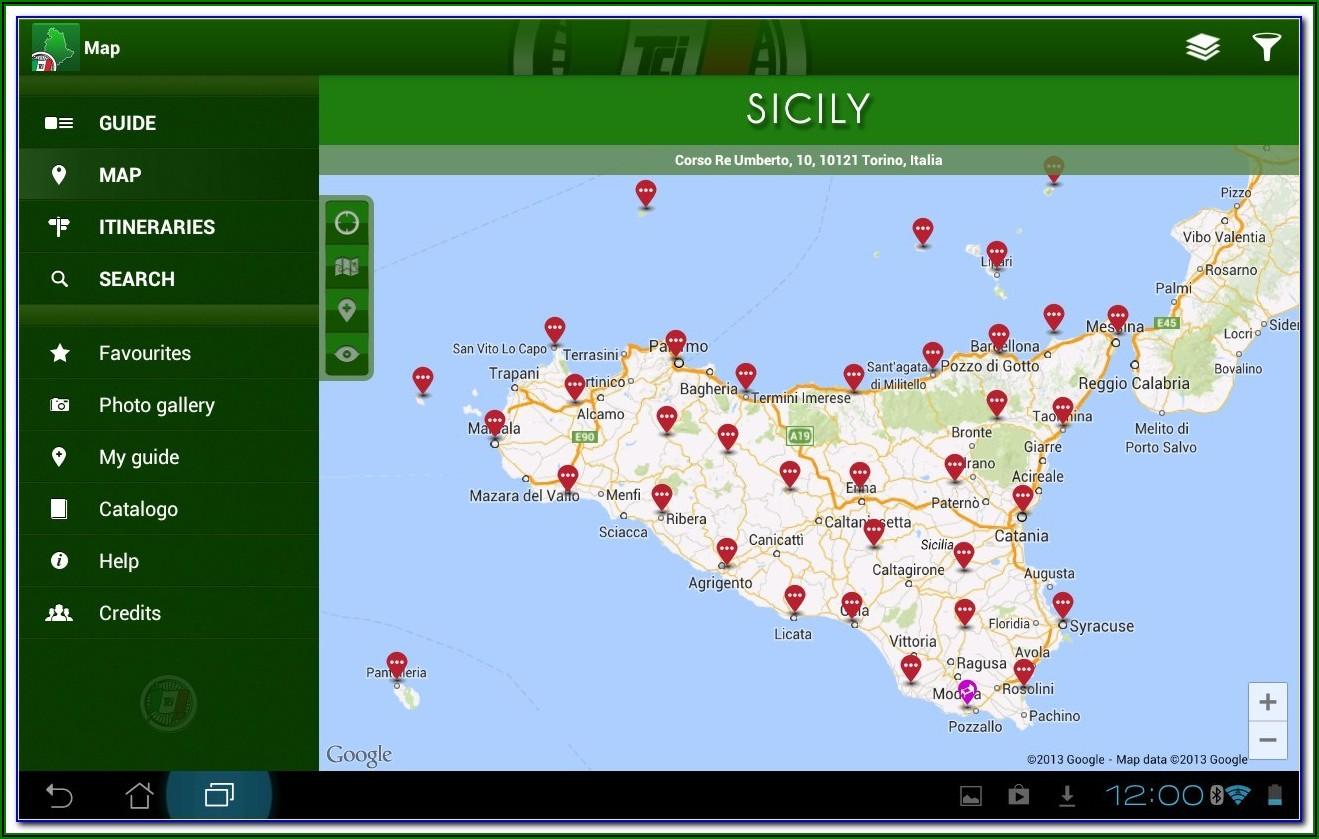 Palermo Sicily Tourist Map