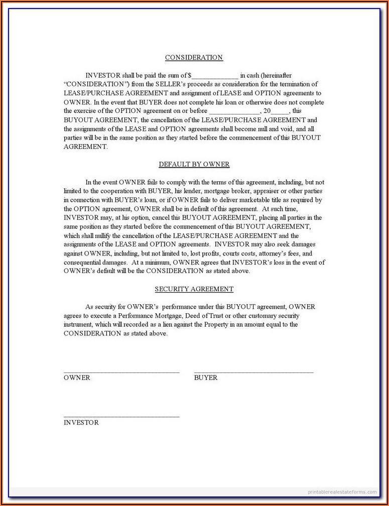 Partnership Buyout Agreement Form