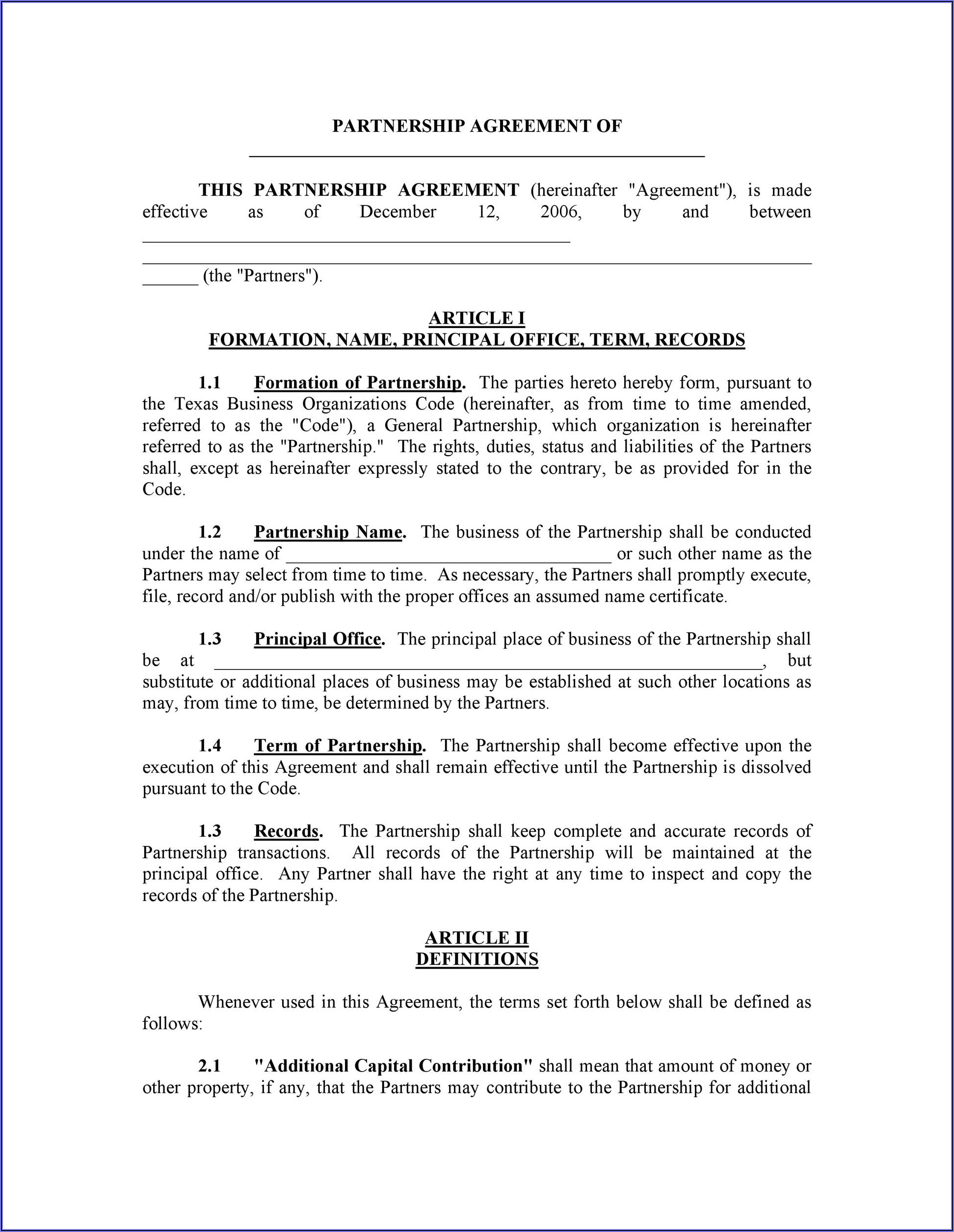 Partnership Contract Agreement Template