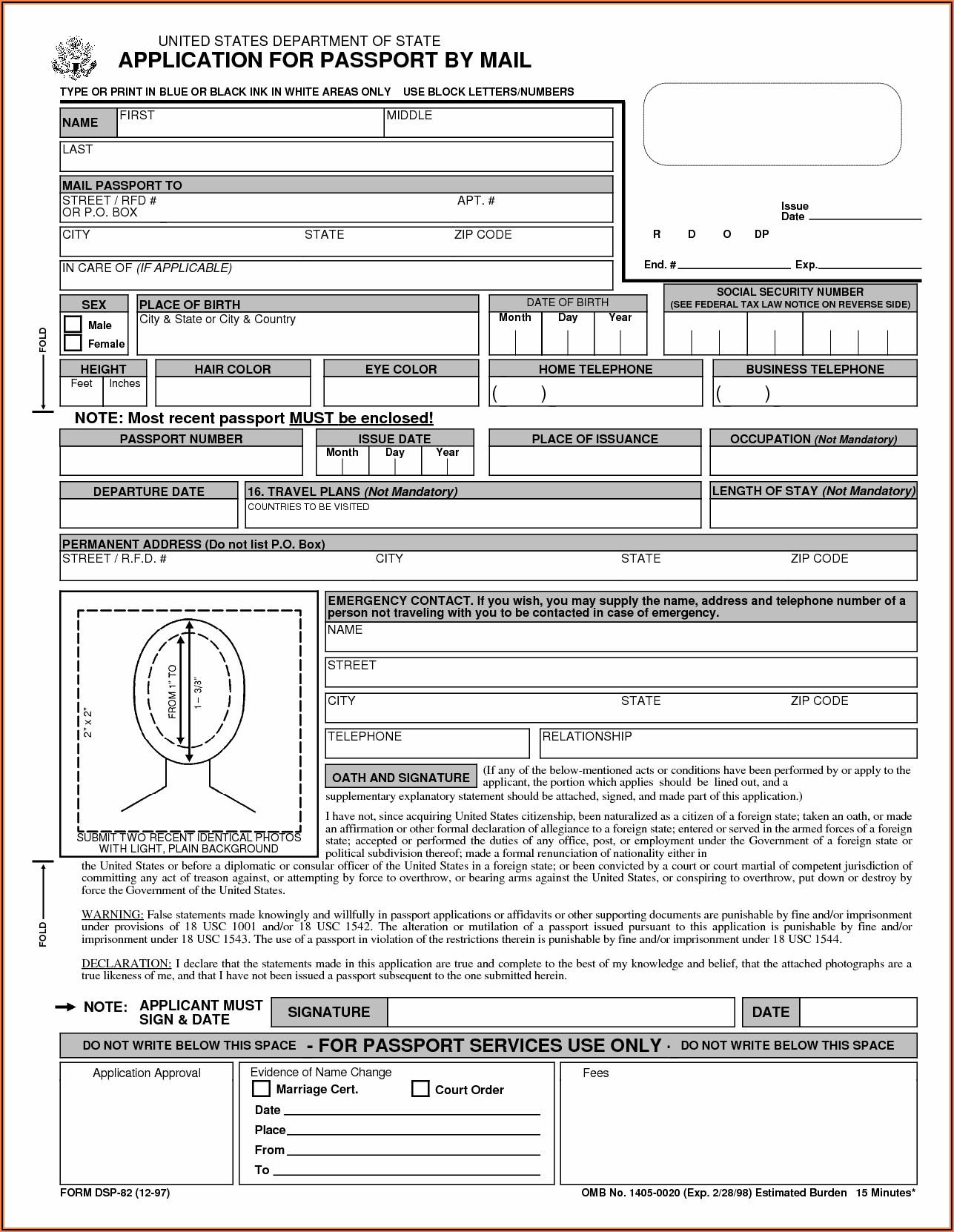 Passport Renewal Application Form